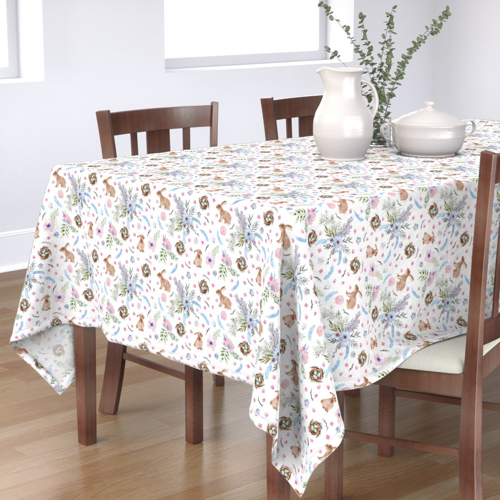 Bantam Rectangular Tablecloth featuring Easter bunnies, eggs, spring flowers by rebecca_reck_art
