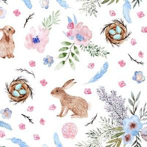 Easter bunnies, eggs, spring flowers