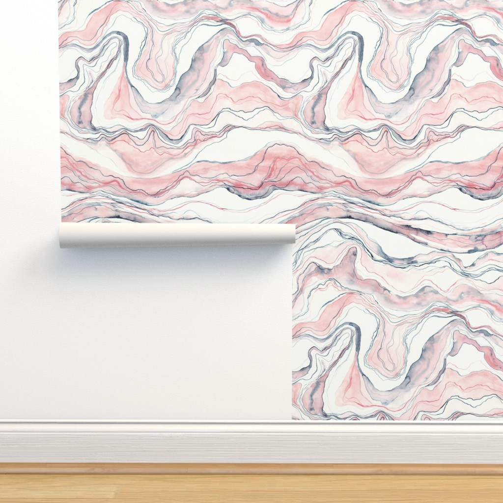 Isobar Durable Wallpaper featuring Watercolor marble by rebecca_reck_art