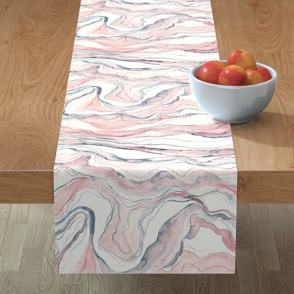 Minorca Table Runner featuring Watercolor marble by rebecca_reck_art