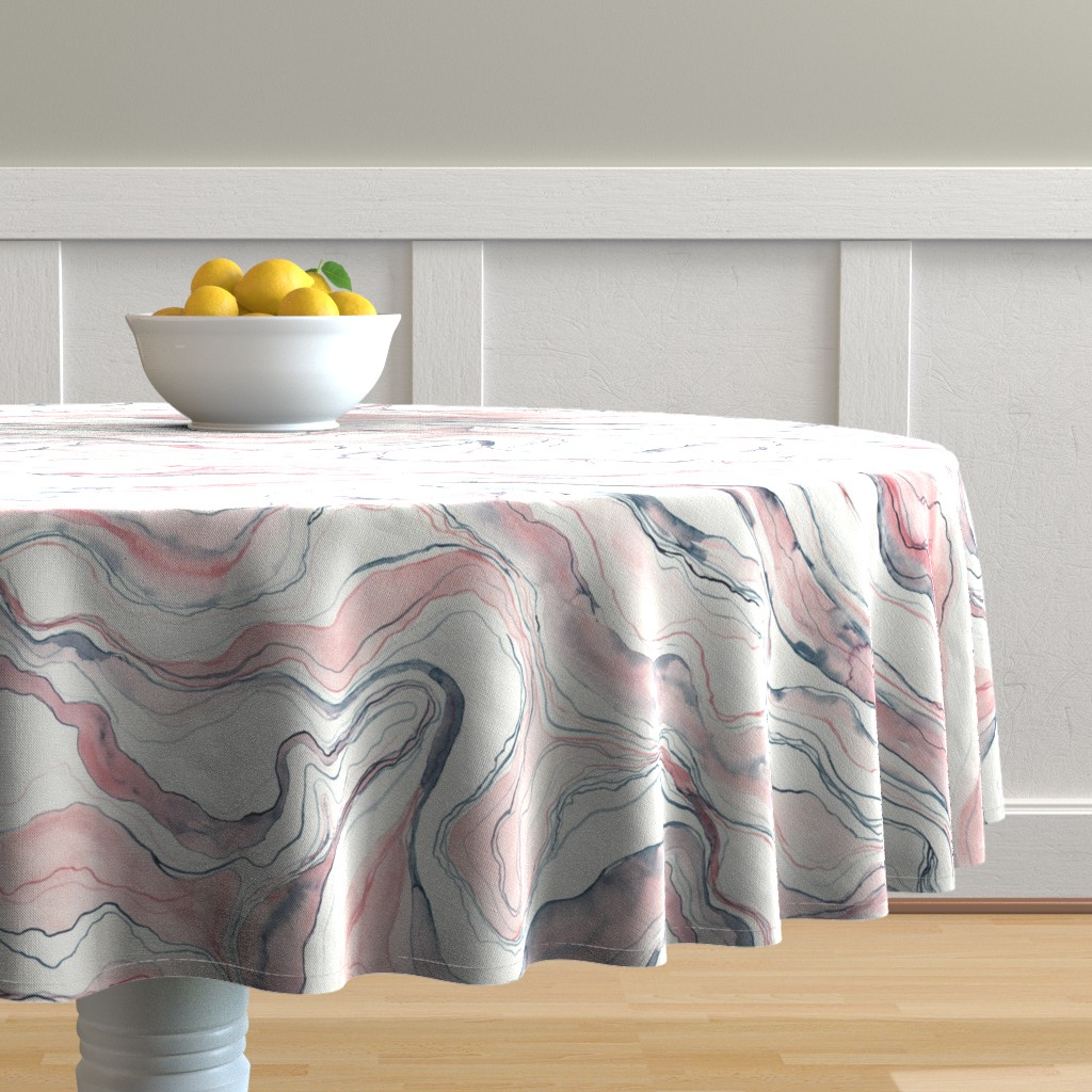 Malay Round Tablecloth featuring Watercolor marble by rebecca_reck_art