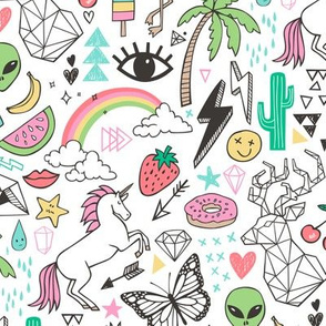 Summer Doodle Geometric Triangle Deer & Unicorn Rainbow Cactus Flamingo Pineapple