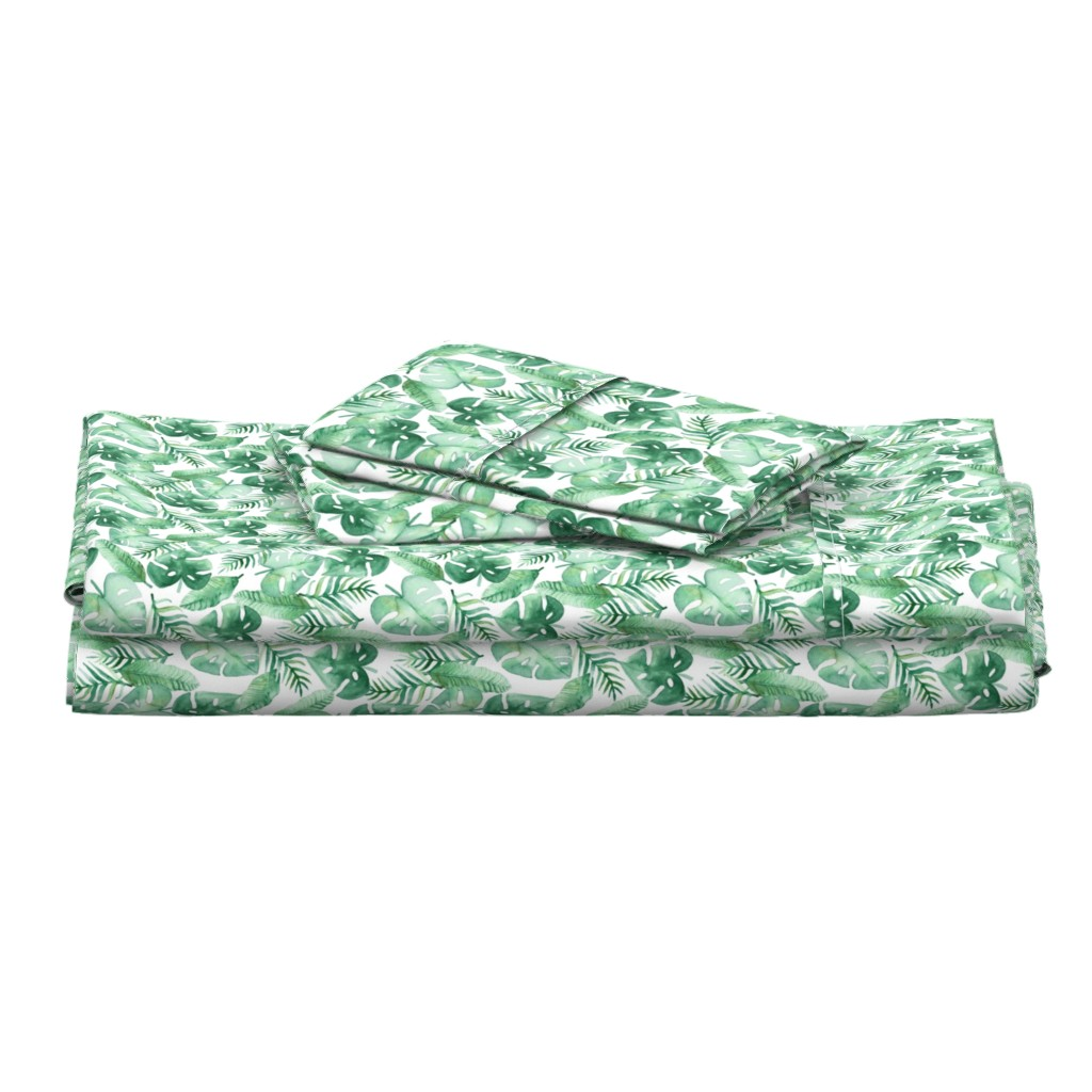 Langshan Full Bed Set featuring Tropical Jungle on White by tangerine-tane