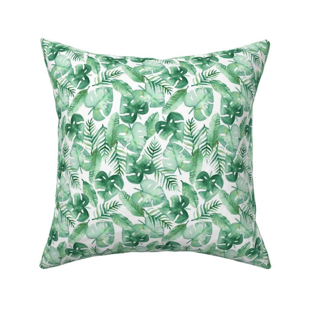Catalan Throw Pillow featuring Tropical Jungle on White by tangerine-tane