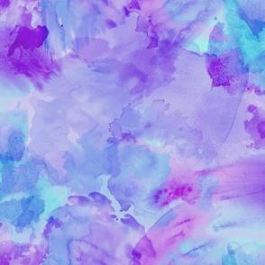 Aqua Violet Watercolor Splashes