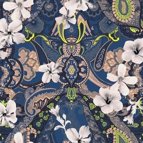 Paisley-Power-hibiscus-paisley-print-in-blue-peach-grey-yellow