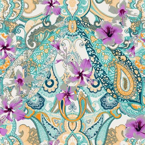 Paisley-Power-hibiscus-paisley-print-in-green-lilac-orange