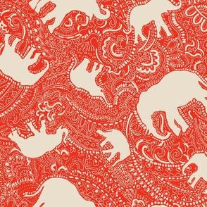 Paisley-Power-ivory-orange-red-elephant-print-fabric-design