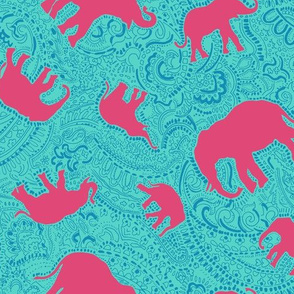 Paisley-Power-turquoise-red-elephant-print-fabric-design