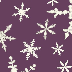 Snowflakes - Large - Ivory, Blackberry
