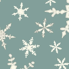 Snowflakes - Large - Ivory, Blue Spruce