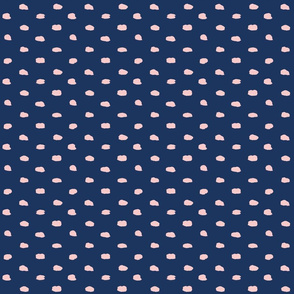 Navy and Dusky Pink Painty Polka Dot