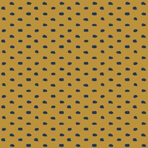 Mustard and Navy Painty Polka Dot