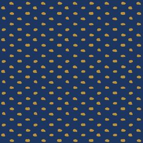 Navy and Mustard Painty Polka Dot