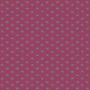 Bordello and Grey Painty Polka Dot