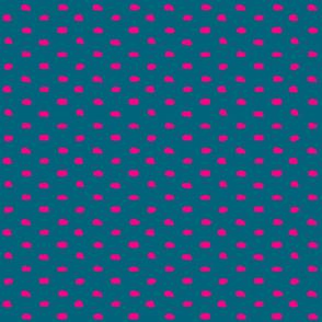 Teal and Hot Pink Painty Polka Dot