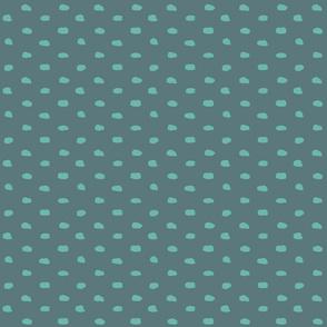 Grey-teal painty polka dot
