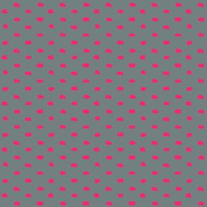 Grey and Hot Pink Painty Polka Dot