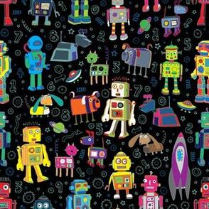 Robots in Space - Black - Medium - Small