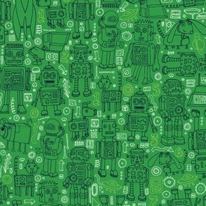 Robots pattern - Green