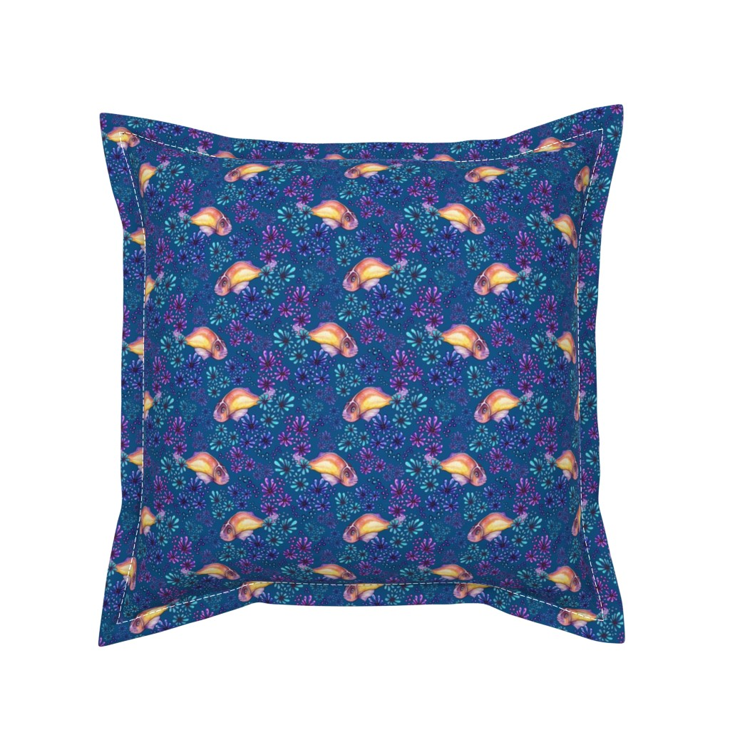 Serama Throw Pillow featuring Anemone Fish Deep Blue Sea by christinemay