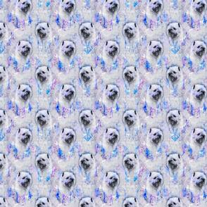 Watercolor Cairn Terrier chevron - purple/blue