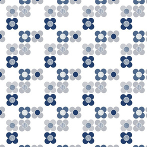 Mod Flower - Indigo Blue