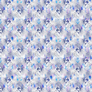 Watercolor Pug chevron - purple/blue