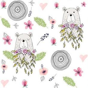 "8"" Floral Woodland Bear"