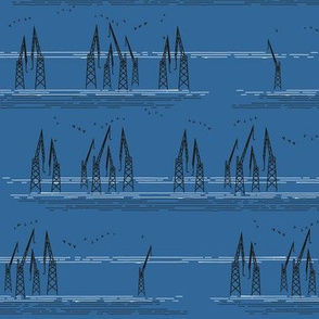 Cranes in Helsinki Blue