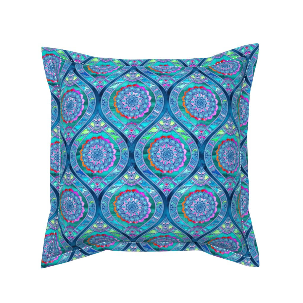 Serama Throw Pillow featuring  Radiant Boho Color Play - small ogees by micklyn