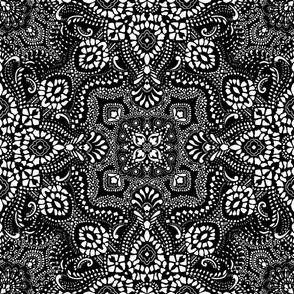 Mosaic Bandana - Large  - black white