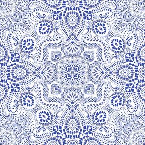 Mosaic Bandana - LARGE - Dark Blue & White
