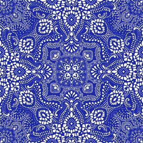 Mosaic Bandana - LARGE - Royal Blue & White