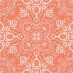 Mosaic Bandana - LARGE - Orange and White