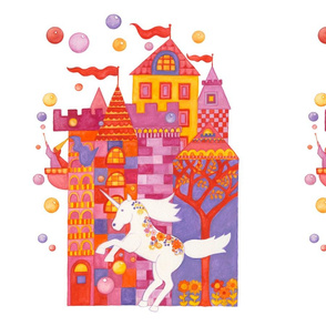 Castle, Unicorn, and Bubbles