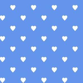 White Hearts on Cornflower Blue