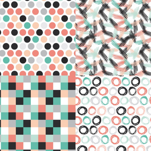scandinavian  trendy nursery baby design, strips squares circles dots, geo abstract pattern set, coordinates collection