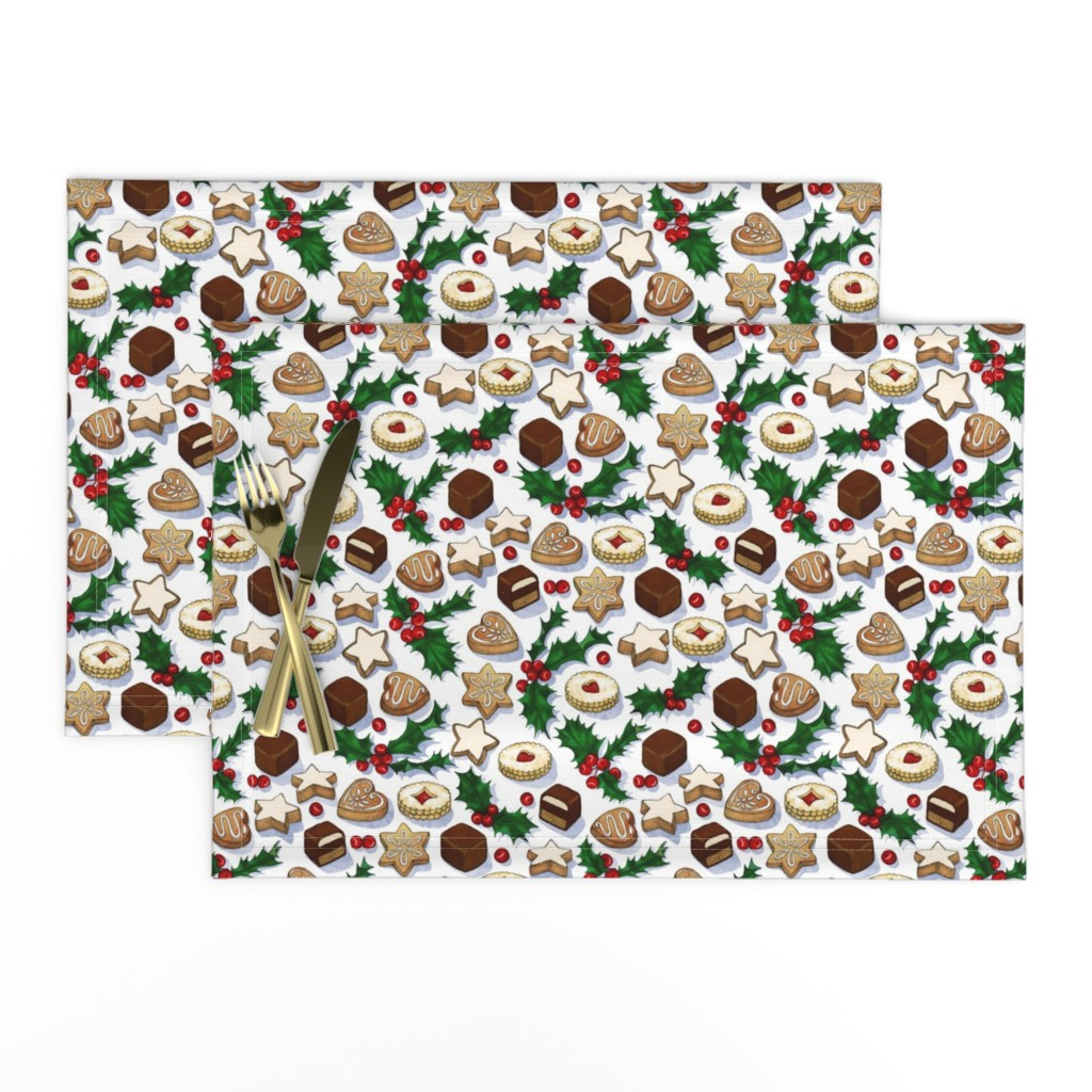 Lamona Cloth Placemats featuring Traditional Christmas Cookies with Holly Berries small print by micklyn