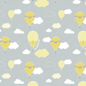 Hot Air Balloons - Grey and Yellow