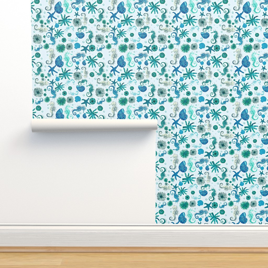 Isobar Durable Wallpaper featuring DITSY SEA by bluevelvet