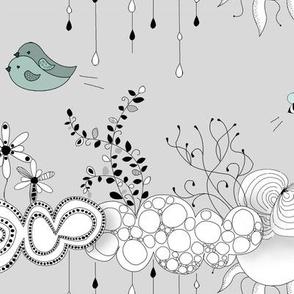 Bird love in the air grey