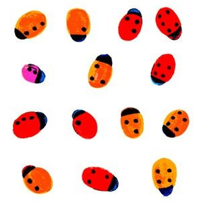 ladybugs with Braille dots on white square