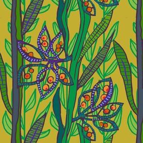 new zealand broom seed pods in greens + plum + mustard