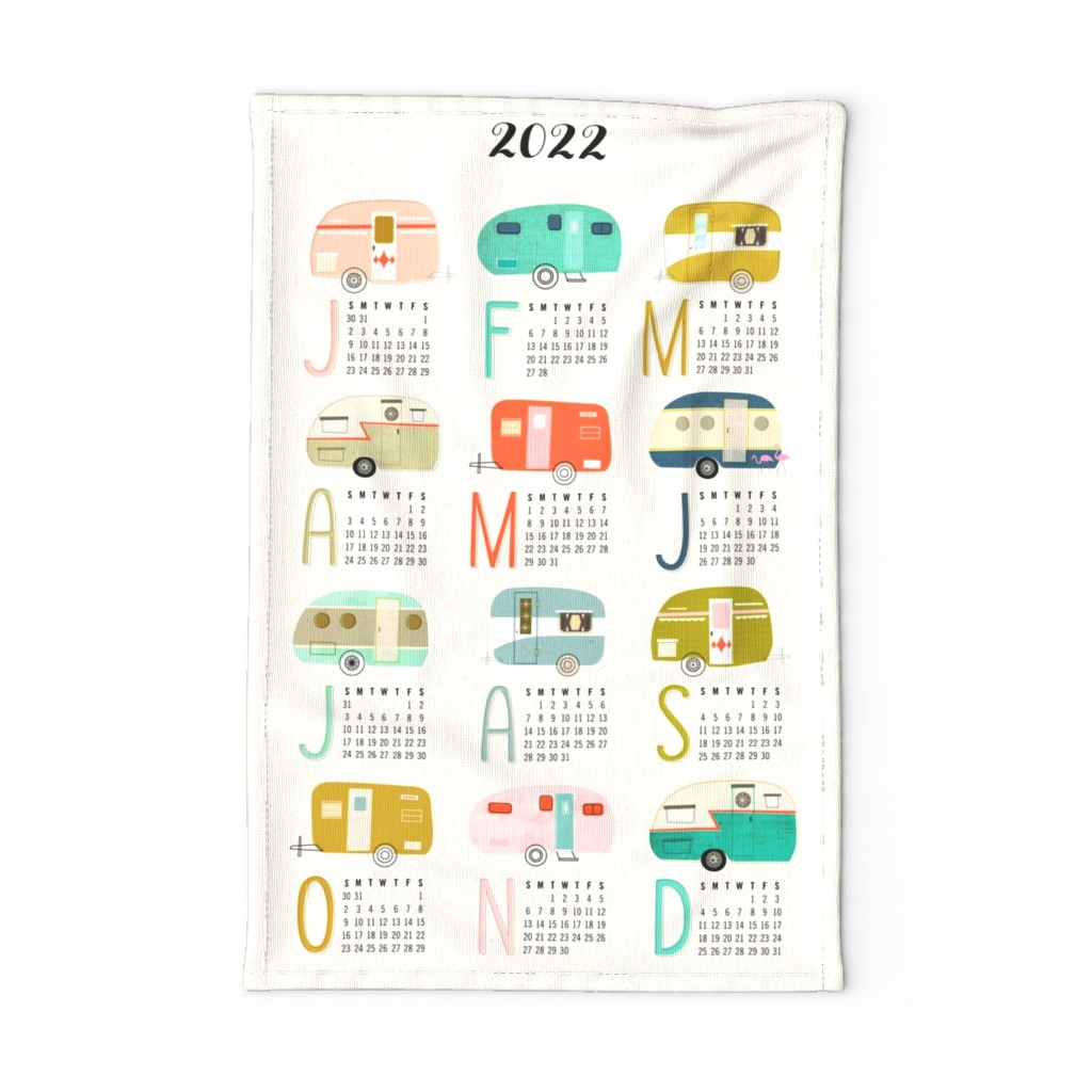 Special Edition Spoonflower Tea Towel featuring Happy Campers 2019 Tea Towel Calendar by nadiahassan