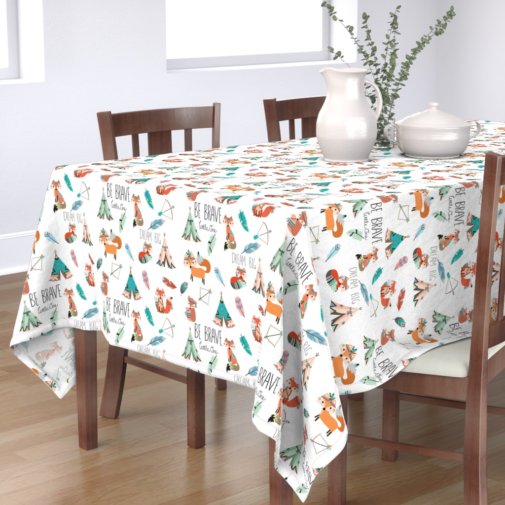 Bantam Rectangular Tablecloth featuring Brave little fox by buckwoodsdesignco