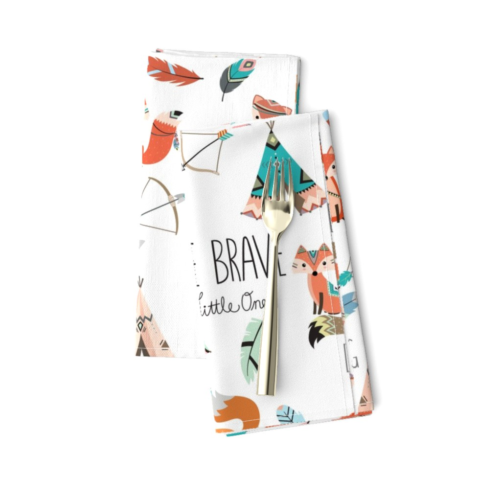 Amarela Dinner Napkins featuring Brave little fox by buckwoodsdesignco