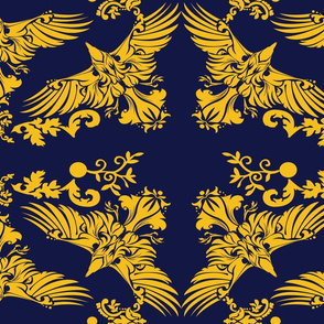 Damask Raven on Blue 5inch