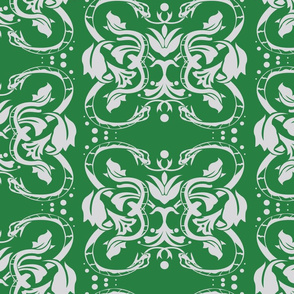 Damask snake on green 5inch