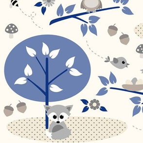 Woodland babies with navy blue